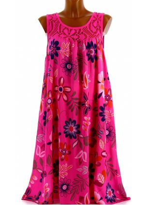 Plus Size Casual Floral Tunic Round Neckline A-line Dress (4355507)