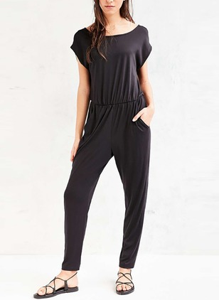 Polyester Solid Short Sleeve Casual Jumpsuits & Rompers