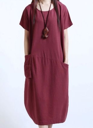 Casual Solid Tunic Round Neckline A-line Dress (100546541)