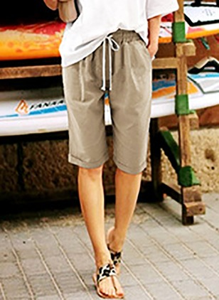 Loose Cotton Polyester Shorts Pants & Leggings (1175653)