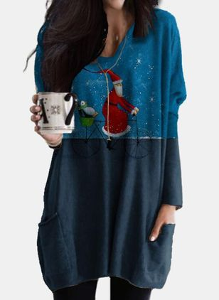 Christmas Animal Tunic V-Neckline A-line Dress (146740086)