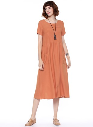 Casual Solid Round Neckline Midi Shift Dress (1092114)
