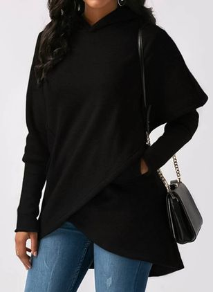 Hooded Solid Loose Long Pockets Sweaters