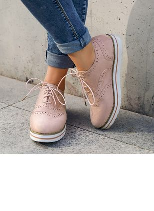 Lace-up Closed Toe Flat Heel Shoes