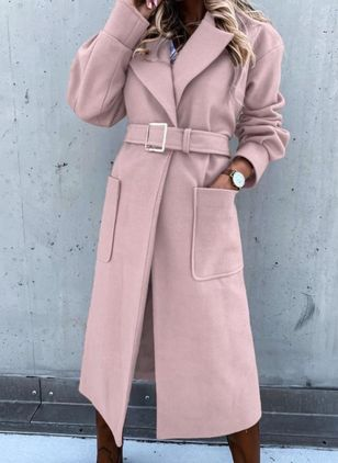 Long Sleeve Lapel Pockets Coats (107520320)
