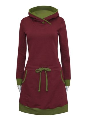 Casual Color Block Sweatershirt Draped Neckline Sheath Dress (112236638)