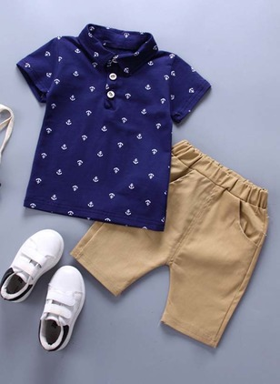 Boys' Color Block Daily Short Sleeve Clothing Sets