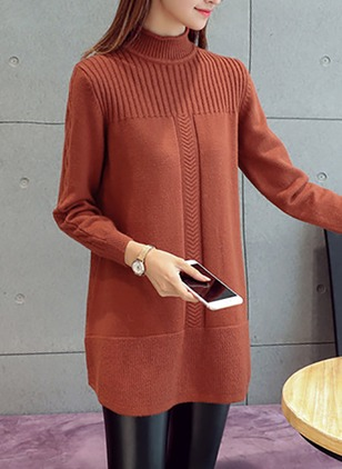 Wool Blends High Neckline Solid Long None Sweaters