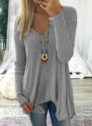 Solid V-Neckline Long Sleeve Blouses