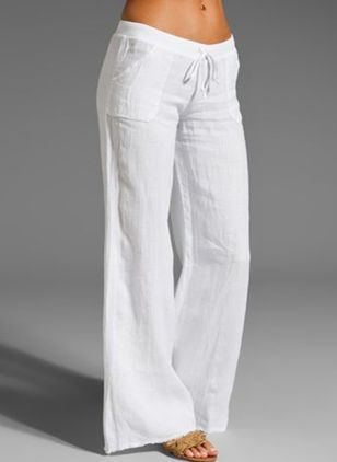 Casual Loose Pockets Mid Waist Cotton Blends Pants (1507710)