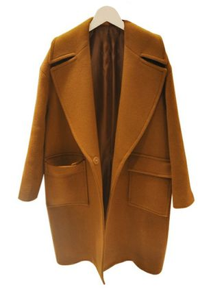 Long Sleeve Lapel Pockets Peacoats