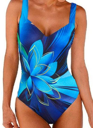 Polyester Floral One-piece Swimwear (146977079)