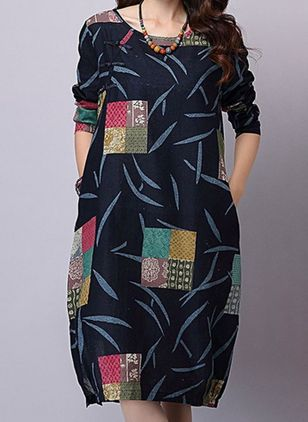 Chinese Casual Floral Tunic Round Neckline O Dress (109974525)