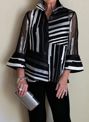 Stripe Casual V-Neckline 3/4 Sleeves Blouses (111798680)