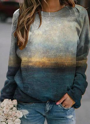 Color Block Round Neck Long Sleeve Casual T-shirts (112236940)