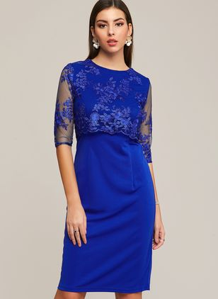 Plus Size Elegant Solid Round Neckline Midi X-line Dress (1289943)