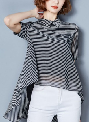 Stripe Casual Chiffon Collar Short Sleeve Blouses
