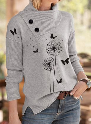 Oblique Neckline Animal Casual Loose Regular Buttons Sweaters (111798808)