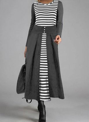 Casual Stripe Shirt Round Neckline Shift Dress (109555925)