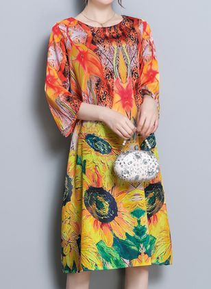 Casual Floral Tunic Round Neckline A-line Dress (100038063)