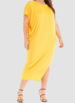 Plus Size Tunic Solid Round Neckline Casual Elegant Midi Plus Dress (1510855)