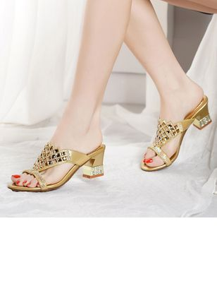 Women's Rhinestone Slingbacks Low Heel Slippers