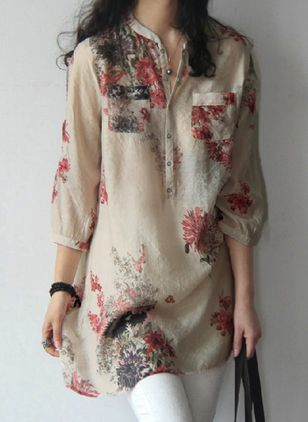 Floral Arabian Round Neckline 3/4 Sleeves Blouses