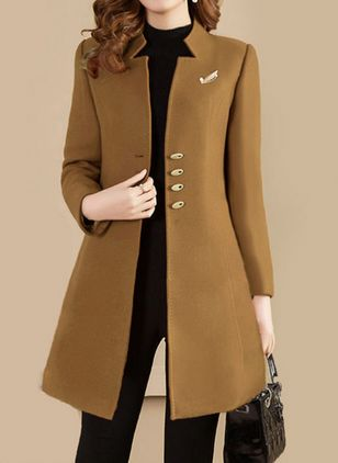 Long Sleeve Buttons Trench Coats (101923906)