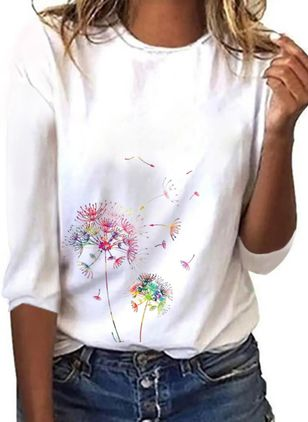 Floral Round Neck 3/4 Sleeves Casual T-shirts (101986563)