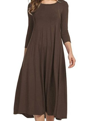 Casual Solid Tunic Round Neckline A-line Dress (106588238)
