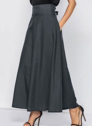 Solid Maxi Pockets Skirts