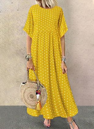 Casual Polka Dot Tunic Round Neckline Shift Dress (1340573)