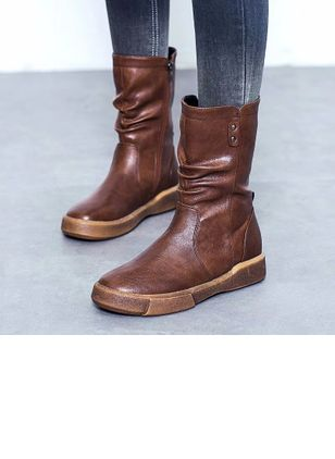 Zipper Mid-Calf Boots Flat Heel Shoes