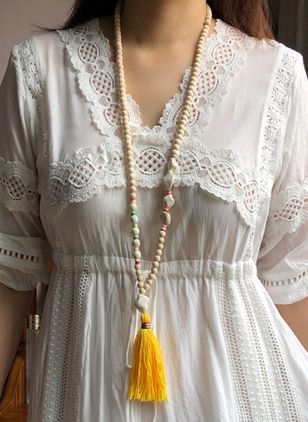 Casual Tassel Pendant Necklaces (4348192)