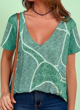Geometric V-Neckline Short Sleeve Casual T-shirts (4219650)