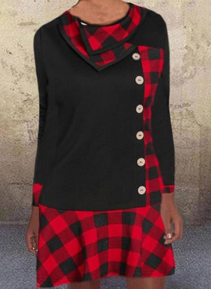 Casual Plaid Skater High Neckline X-line Dress (100668022)