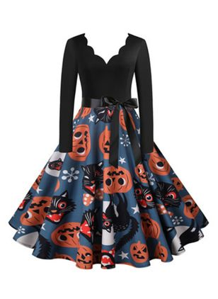 Halloween Color Block V-Neckline Midi X-line Dress (111607825)