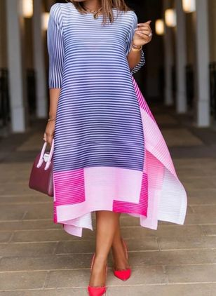 Casual Stripe Tunic Round Neckline Shift Dress (106821648)