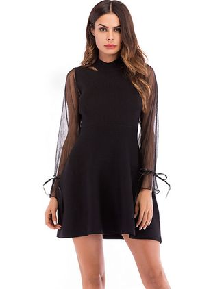 Solid Skater Long Sleeve Above Knee A-line Dress
