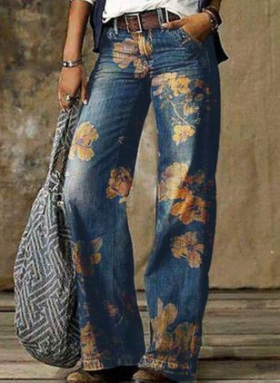 Casual Loose Pattern Pockets Mid Waist Polyester Jeans Pants (146858381)