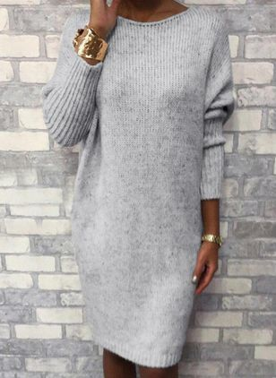 Round Neckline Solid Casual Loose Long Shift Sweaters (111109805)