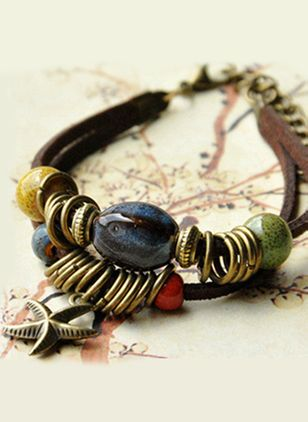 Casual Round Gemstone Bangle Bracelets (1409986)