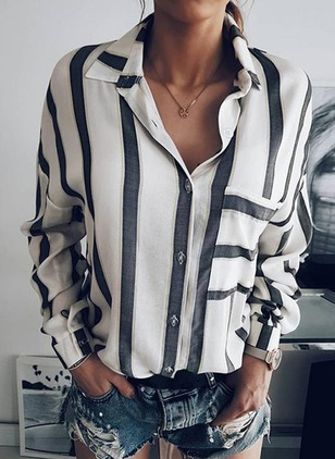 Stripe Casual Polyester Collar Long Sleeve Blouses