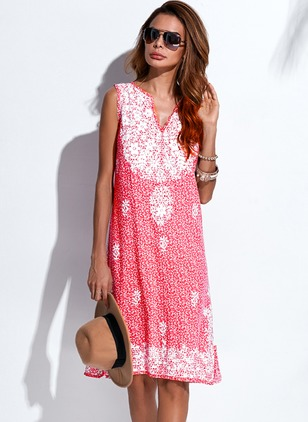 Polyester Floral Sleeveless Knee-Length Dresses