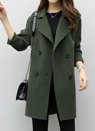 Long Sleeve Lapel Buttons Coats (107519687)