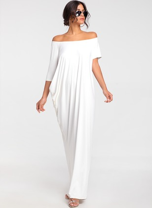 Cotton Solid Short Sleeve Maxi Dress