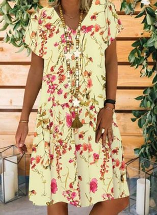 Casual Floral Tunic V-Neckline A-line Dress (1543813)