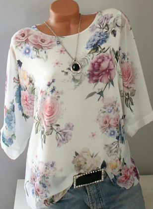 Floral Casual Round Neckline Long Sleeve Blouses (146960096)