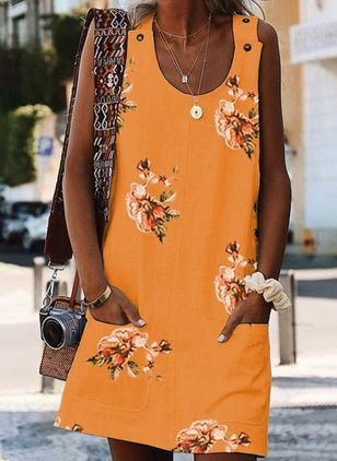 Casual Floral Tunic Round Neckline Shift Dress (1530087)