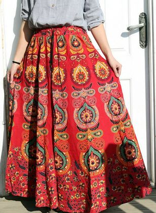 Color Block Maxi Casual Skirts